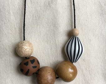 Slugger / Clay and Vintage Wood Bead Necklace
