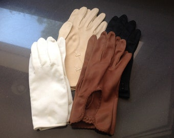 Vintage ladies fabric gloves (black and ecru sold!)
