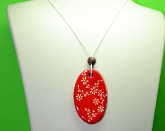 Handmade Jewelry, Air Dry Clay Necklace, Clay Jewelry, Flower Necklace, Painting Necklace