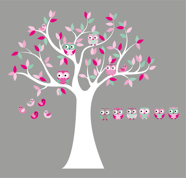 Kinderzimmer Wandtattoo-Aufkleber-Vinyl Baum Eule Baum-6 Free