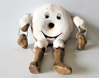 Unusual Small Vintage Wooden Iced Doughnut Stringed Doll Toy.   / MEMsArtShop
