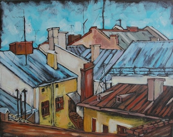Сityscape,рainting with roofs,сity rooftops,oil painting,original oilpainting,interior painting,oil on canvas,roofs,expressionism,old town