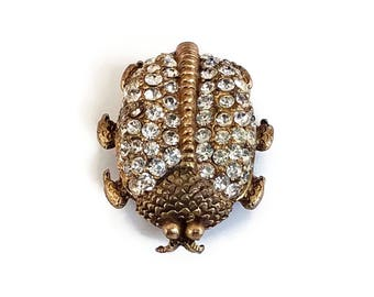 Rhinestone Bug Pin by Samsan - Insect Brooch, Brass Bug Pin, Ladybug Brooch, Sparkly Jewelry, Clear Rhinestones, Vintage Bug Brooch