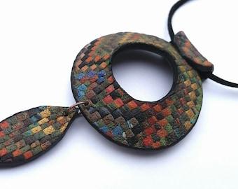 Polymer clay pendant, Handmade jewelry, Boho pendant, Jewelry pendant made of polymer clay , Boho jewelry,Boho