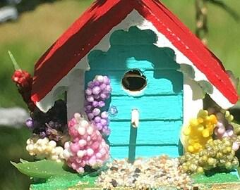 Miniature Birdhouse 1:12 Scale Dollhouse Accessory