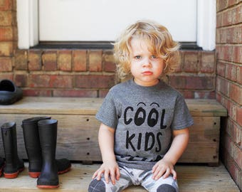 cool kids club gray tee, kids shirt, funny tee, boys and girls shirt hipster kids clothing, trendy kids clothes, boys graphic tee, girls tee