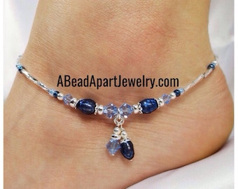 Anklet Ankle Bracelet Sterling Silver Anklet Royal Blue Pearl Anklet Blue Anklet Something Blue Wedding Anklet Crystal Anklet Beach Anklet