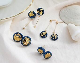 Party Resin  Deep Blue Sea Stud Earrings (Small)