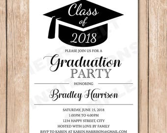 Graduation Party Invitation | Graduate, Hat, Cap, Customize Color