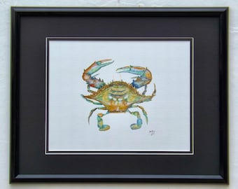 Blue Crab original acrylic painting