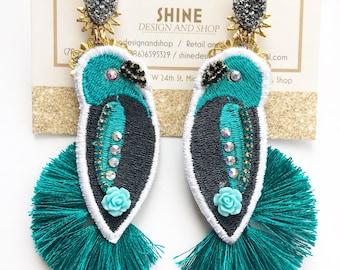 Handmade parrot earrings With tassels