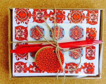 Notecards stationary gift set indie reds corals teacher mother bridesmaid - ANIKA