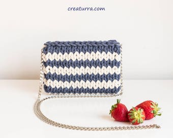 Summer Blue  and White Stripped Cotton Zipper Bag