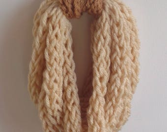 Finger Knitted Light Brown Scarf Snood