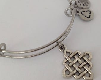 Knot Charm Bracelet, Endless Knot Charm Bracelet, Gift for Her, Bunco Gift, Silver Knot Charm, Stainless Expandable Bangle, Gift
