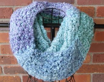 Purple, Blue & Green Crochet Infinity Scarf