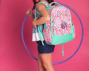 Girls Personalized Pink and Mint Backpack, Custom school Bookbag, Back to School supplies