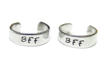 Best Friends Rings; BFF Rings; Hand Stamped Ring; Adjustable Size 6-8 Rings; Hand Stamped BFF Rings; Best Friends Forever Rings; Slanting