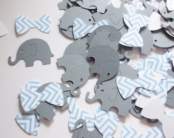 Elephant Bow Tie Confetti, Gray & Light Blue, Baby Shower, Little Man Birthday, Elephant Cutouts, Table Confetti, Party Decoration,  200 Ct.