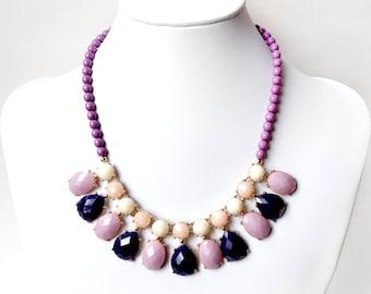Necklace - Lavender and Navy Bib Necklace - Gold Statement Bib Necklace - Purple, Navy, Peach Necklace - Purple Czech Glass Beads