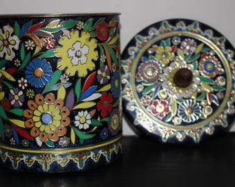 Vintage Daher Tin Floral Lidded Canister MADE IN HOLLAND