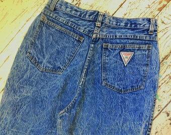 Vintage, 1980's, High Waisted, Denim, Stone Wash, Jeans, STEPHANO, Size 12