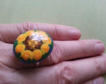 Sunflower Ring ,Handpainted Pebble, Adjustable , Rock Miniature Art, Artisan Jewelry, for Flower Lovers, Gift for Her