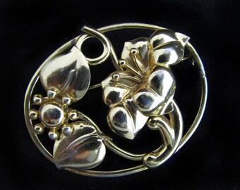 Vintage Coro Gold-Washed Sterling Flower Brooch