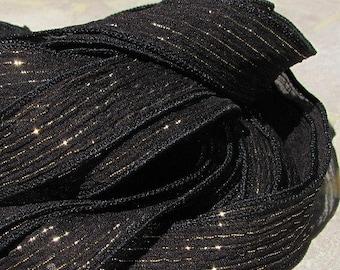 Black Fizz Silk Ribbons, Qty 5 Hand Dyed Sewn Black With Gold Stripes, Silk Wrap Ribbon, Stringing Supplies, Handmade Ribbon,