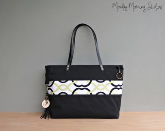 Monogrammed Waxed Canvas Tote with Green Trellis Accent, Black Zipper Tote with Leather Shoulder Straps, Business Tote, Handmade in the USA