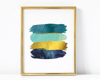 Brushstroke Abstract Printable Art | Blue Teal and Gold Art Print  | Glam Art | Modern Art | Glam Printable | Brushstroke Modern Wall Art |