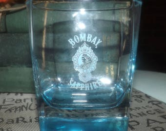 Vintage (c.1980s) Bombay Sapphire gin promotional lo-ball, whisky, on-the-rocks glass.  Blue sapphire glass, etched-glass branding.