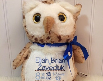 Personalized owl, Birth Stats Animal, Birth Stats owl, Embroidered Stuffed Animal, Birth Announcement, Embroidered Animal, owl