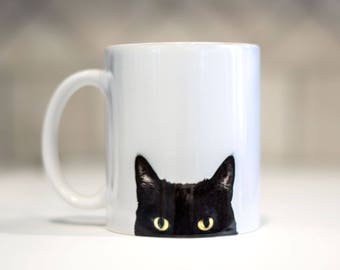Black Cat Mug - Cat Lover - Funny Cat Mug - Black Cat Gift - Kitty Cat Mugs - Crazy Cat Owner - Cat Owner Gift - Cat Obsessed - Kitty Mugs
