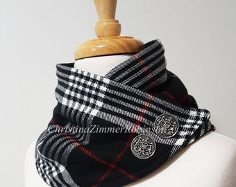 Black White and Red Tartan Plaid Scarf, Neck Warmer, Neckwarmer, with Silver Crest Buttons, Fleece and Snap