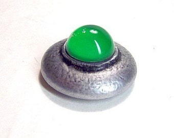 Classic Martian Alien UFO Flying Saucer Wood Pendant Ornament Dangle Science Fiction