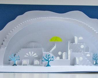 Greek Islands 3D Pop Up Model of a Village under Bridge Home Decor Origamic Architecture, ORIGINAL DESiGN One of a Kind Signed. SOLD