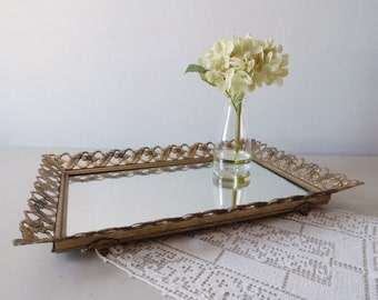 Vintage mirror tray Large vanity tray Mirrored rectangular dresser tray