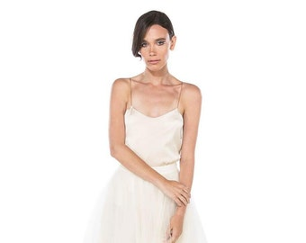 Silk wedding top in champagne / camisole wedding top / Wedding Separates/Rasbery Pavlova bridal separates / Colour & customisation available