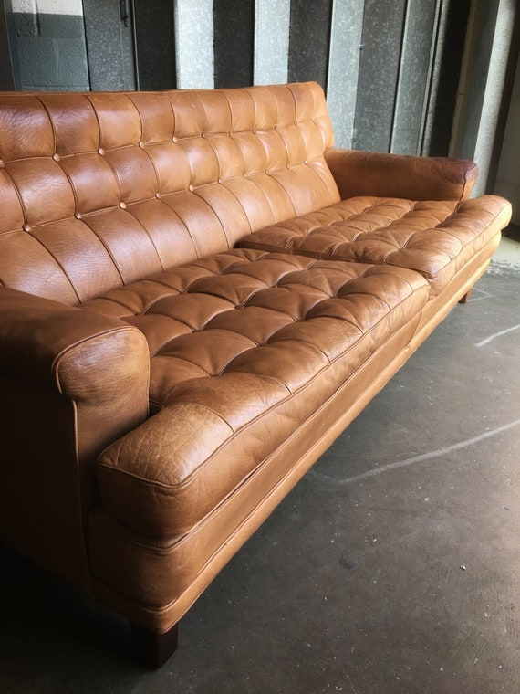 Mid century Swedish Arne Norell 'Mexico' Buffalo skin tan leather three person sofa circa 1970's