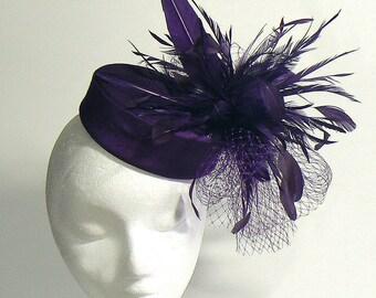 mother of the bridal purple cocktail - purple feather pillbox - violet retro pillbox fascinator