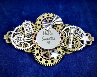 "Doctor Who River Song ""Hello Sweetie"" Steampunk Silver Brooch 