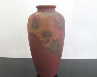 Vintage 1925 ROOKWOOD Lorinda Epply Wax Matte Red Flowering Branches Vase 614-F