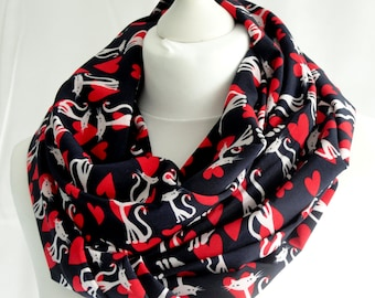 Cat print infinity scarf, Cat scarf, Circle scarf, Cute cat scarf, Gift for cat lover, Lightweight scarf