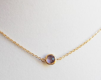 Mini Amethyst Pop 16K Gold Plated Stacking Necklace - BridesMaid Gift - Gemstone Necklace - Amethyst Stone Necklace