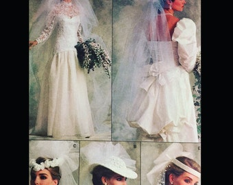 Vintage 80s Wedding Headpieces Hat Millinery Veil Sewing Pattern Vogue 9822 One Size