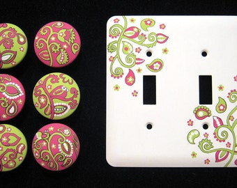 Hot Pink & Lime Green Paisley Design - Set of 6 KNOBS and DOUBLE - METAL Switchplate Cover