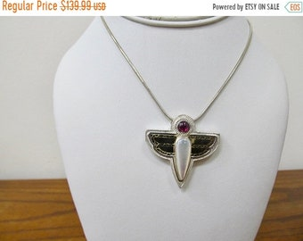 ON SALE Victoria Adams Sterling Silver and 14kt Gold Dragonfly Pendant Item K # 3167