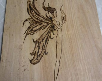 Wood burning fairy faerie wings wall hanging plaque