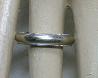Men's Wedding Band, 14K White Gold. Frederick Goldman, Size 10 1/4. Milgrain, Comfort Fit